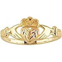 Beautiful Yellow-gold Black Hills Gold Women's Claddagh Ring