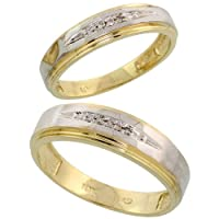 10k Gold 2-Piece His (6mm) and Hers (5mm) Diamond Wedding Band Set w/ Rhodium Accent, w/ 0.05 Carat Brilliant Cut Diamonds; Ladies Size 10
