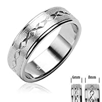 316L Surgical Stainless Steel Rings/Brushed Center/Dia Cut xxx