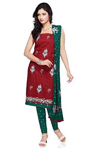 Utsav Fashion Women's Maroon Cotton Churidar Kameez- - B00MIMT9UA