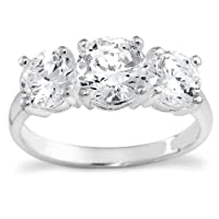 Sterling Silver 3-Stone Cubic Zirconia Ring