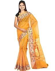 Bunkar Banarasi Ethnic Net Saree With Blouse Piece_1279 A-MUSTARED