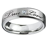 Stainless Steel True Love Waits Purity Ring with CZ (Sizes 6-12)