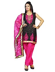 Idha Black-Pink Straight Fit Supernet Zakad Machine Embroidery With Mirror Work Festive/Party Wear Readymade Salwar...