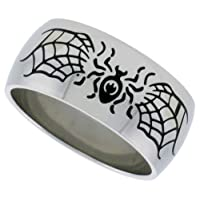 Stainless Steel 3/8 in. (10 mm) Dome Band w/ Spider and Web Design (Available in Sizes 8 to 14)