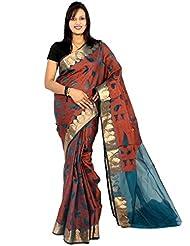 Bunkar banarasi ethnic net saree with blouse piece_1252A-SKY BLUE