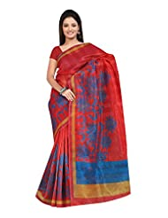 Indian Designer Tissue Patta Red Printed Saree