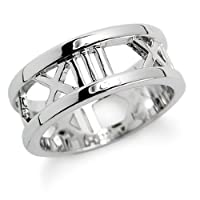 Roman Numerals Sterling Silver Ring