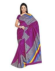Indian Designer Jute Purple Printed Saree