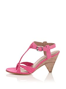 Belle by Sigerson Morrison Women's Woven T-Strap Sandal (Pink)