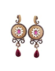 E-designs Rhodium / Gold Plated Earring With CZ Stone Alongwith Colour Stones Studded For Women - B00LM9TQYO