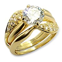 CZ WEDDING RINGS - Gold Plated Engagement and Wedding Ring Set