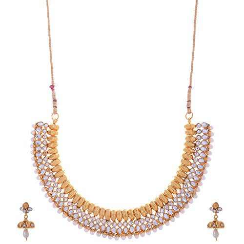 The Jewelbox Antique Gold Plated Kundan Pearl Studded Hand Crafted Choker Necklace Earring Set For Women
