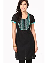 Vedanta Women's South Cotton Kurti (Black) - B00MGHSTKS