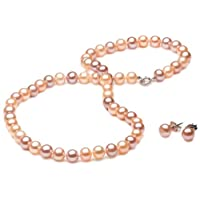 Multi-Color Freshwater Cultured Pearl Girl's Necklace and Earring Set with Sterling Silver Clasp (6-6.5mm), 15