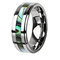 Tungsten Carbide Ring with Abalone Inlay Step Design 8mm - Sizes 9-13