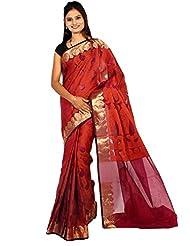 Bunkar Banarasi Ethnic Net Saree With Blouse Piece_1252A-MARRON