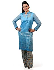 Divinno Women's Silk Blue Kurti With Palazzo