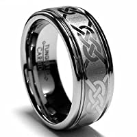 8MM Tungsten Ring Wedding Band with Laser Etched Celtic Design Size 13