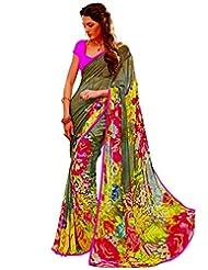 Cbazaar Enchanting Brown Chiffon Printed Saree