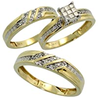 14k Yellow Gold Trio 3-Piece His (5mm) and Hers (4mm; 6mm) Wedding Band Set, w/ 0.47 Carat Brilliant Cut and Invisible-set Diamonds; (Men's Size 9 to 12), size 8