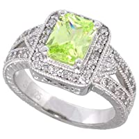 Sterling Silver Vintage Style Engagement Ring, w/ an 8 x 6 mm (1.5 ct) Emerald Cut Light Peridot-colored CZ Stone, 1/2 (12mm) wide