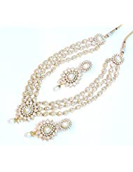Elegant Bridal Wear Uncut Polki Kundan Necklace Set For Women EEN139