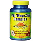 Nature's Life Cal/Mag/Zinc Tablets, 1000/600/15 Mg, 100 Count (Pack of 2)