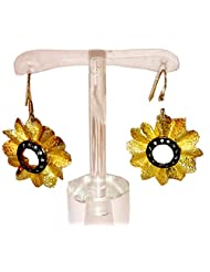 Gehna 92.5 Gold Plated Earring With Black Rhodium For Women