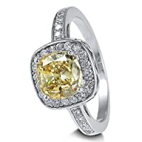 Sterling Silver Ring Canary Cushion Cubic Zirconia CZ Ring 2.56 ct.tw