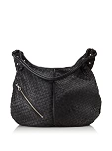 Christopher Kon Women's Matilda Diagonal Zip Bucket Hobo (Black)