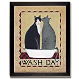 Wash Day Cat Laundry Room Decor Country Framed Print