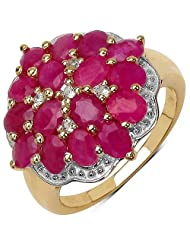 4.10CTW Genuine Ruby & White Topaz 14K Yellow Gold Plated .925 Sterling Silver Ring