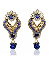 Saundarya Jewels Royal Blue & Golden Dangle & Drop Earring For Women