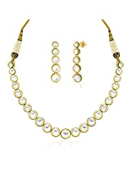 Peora Gold Plated Classic Vilandi Necklace Earring Set (PFN107GJ)