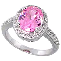 Sterling Silver Vintage Style Engagement Ring, w/ a 10 x 8 mm (3.0 ct) Oval Cut Pink-colored CZ Stone, 1/2 (13mm) wide, size 8