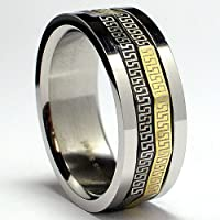 Tricolor Greek Key Laser Design Stainless Steel Spinner Ring Sizes 8 to 12