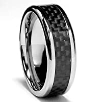 7 MM Titanium Ring Wedding Band with Carbon Fiber inlay sizes 8 to 12