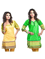 Admyrin Women's Cotton Yellow And Green Printed Combo Kurtis