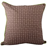 "Meghaavi Brown Print With Parrot Green Piping Cushion Cover (16"" X 16"")"