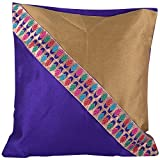 Design Adda Set Of 2 Vibrant Gold And Purple Color Cushion Cover With Border To Suit All Interiors And Give A...