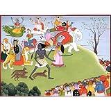 Annihilation Of Demons Shumbha And Nishumbha - Water Color Painting On Paper - Artist: Kailash Raj