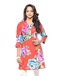 Purab Paschim Women's Casual Printed TANGO RED Kurti Rayon (Pleated)