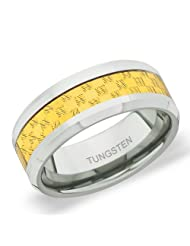 8 Mm Peora Tungsten Carbide Beveled Edge Two Tone Checker Inlay Band Ring For Men (PTR752)
