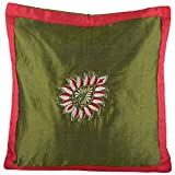 Design Adda Set Of 2 Green Cushion Covers With Beautiful Shaded Embroidery In The Centre