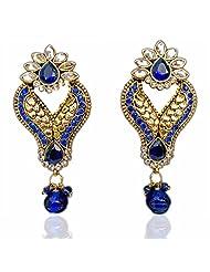 Saundarya Jewels Royal Blue & Golden Dangle & Drop Earring For Women