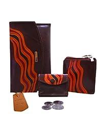 3 In 1 Genuine Leather Agni Brown Ladies Purse