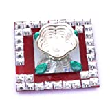Pure Sentiments Designer Diyas In Silvery White Metal Green Beads Set Of 6 Superior Glass Base; White Metal Shaped...