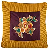 Design Adda Set Of 2 Vibrant Golden Yellow And Brown Color Cushion Cover With A Floral Pattern Embroided To Suit...
