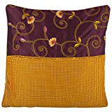 Design Adda Set Of 2 Vibrant Golden Yellow And Brown Color Cushion Cover With Half Pattern Jaal Embroided To Suit...
